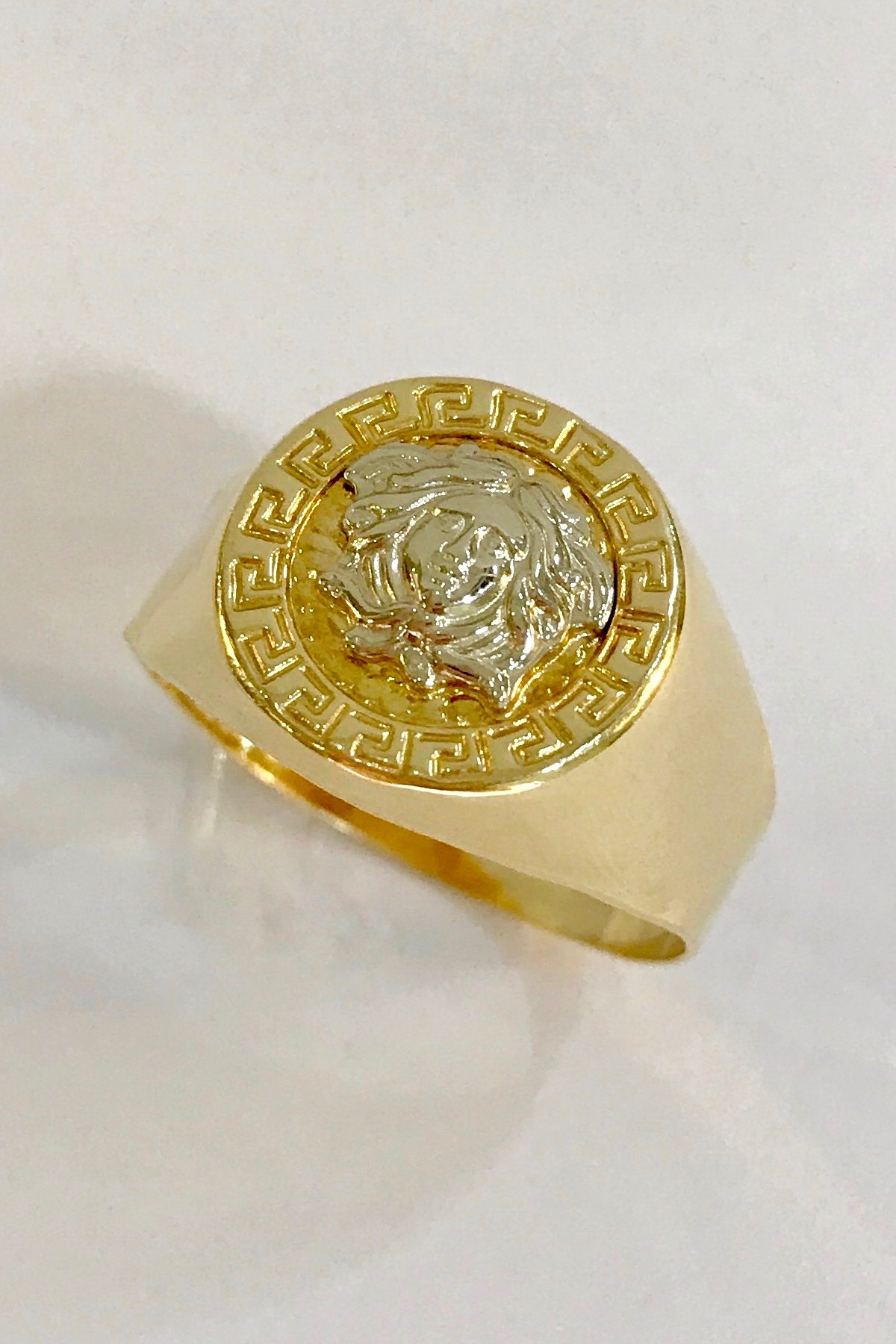 Affordable 18k Gold Mens Versace Ring JayAnn Jewelry