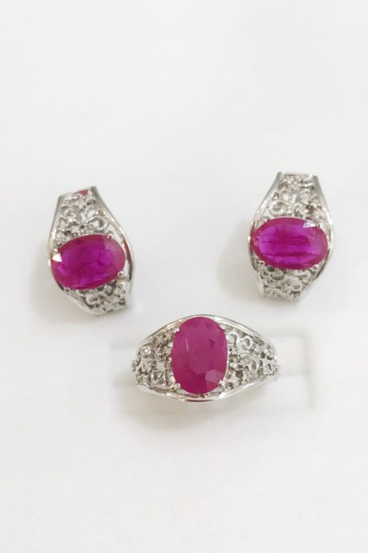 Ruby in 14k White Gold