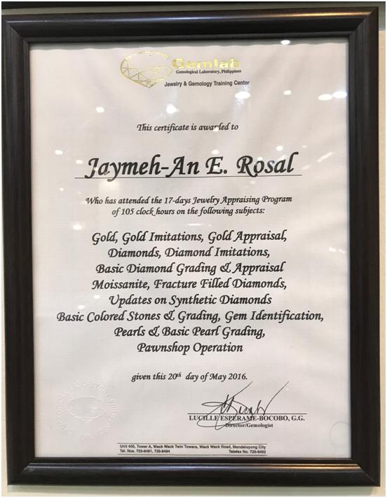 Jay-Ann Jewelry Certificate 1