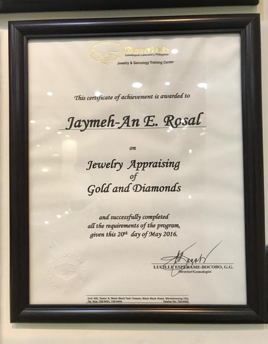Jay-Ann Jewelry Certificate 2
