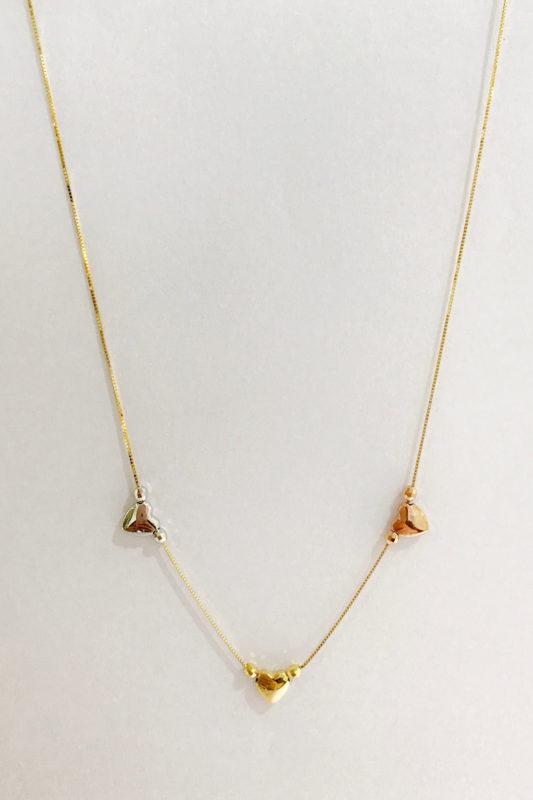 love necklace - Tri-color 18k heart choker