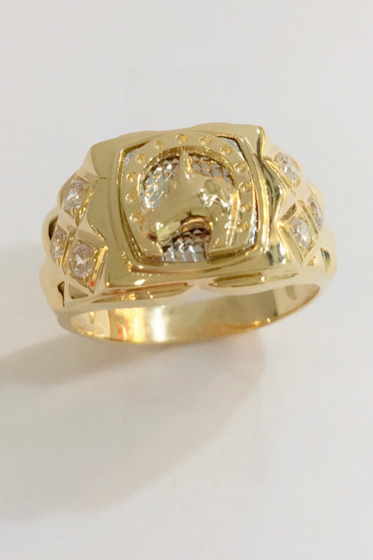 mens ring - horse head in a horseshoe