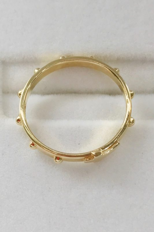 18k yellow gold rosary ring
